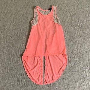 Rue 21 coral/pink lacy tank top
